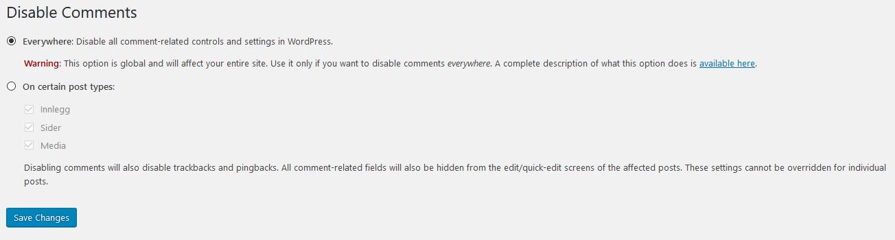 Disable Comments Innstillinger